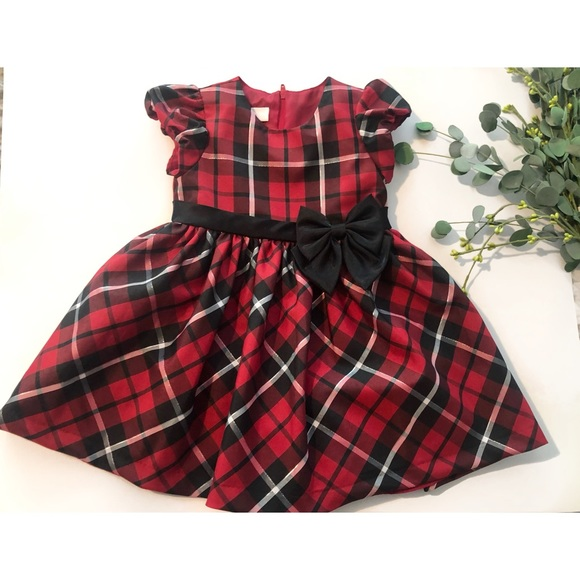 207b0c54740c7 Bonnie Baby Dresses | Toddler Red And Black Plaid Holiday Dress ...